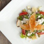 Grilled Panzanella Salad with jumbo crag, goat cheese adn Asian Pears
