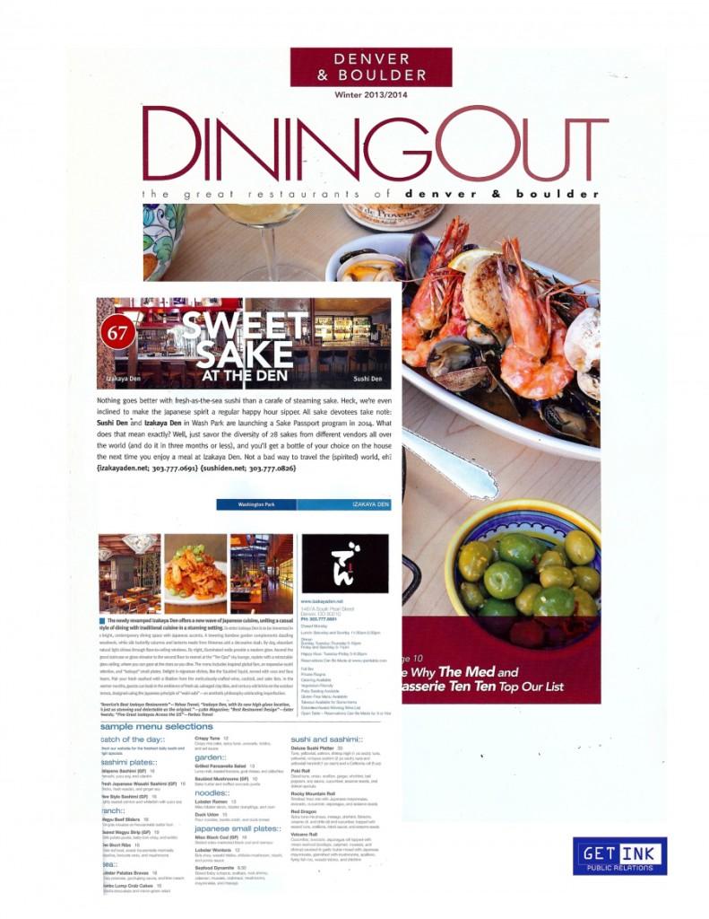 Izakaya Den Dining Out Winter 2013-2014